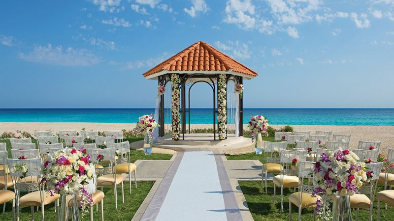 Wedding gazebo set up on the beach