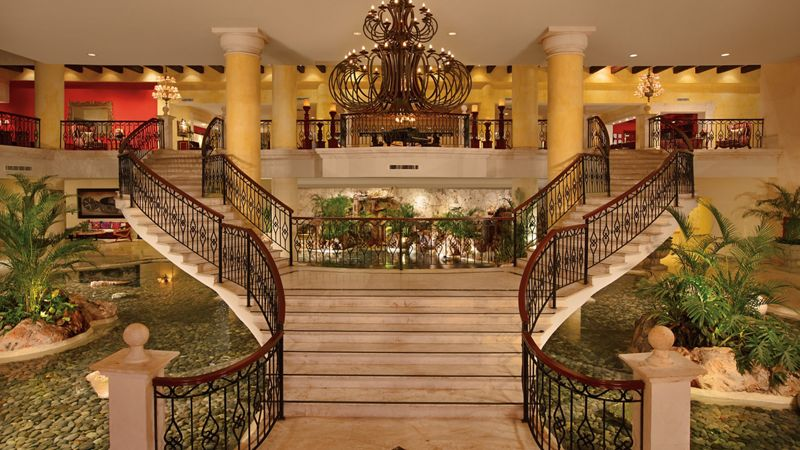 luxury resort lobby staircase